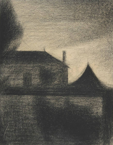 Drawing - House At Dusk by Georges-Pierre Seurat