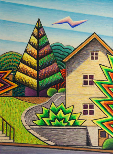 Oil Pastels Drawing - House By Pierce Park-fluorescent by Bruce Bodden