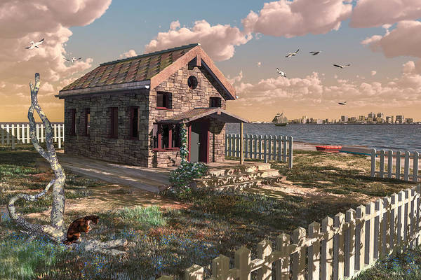 Digital Art - House By The Sea by Mary Almond