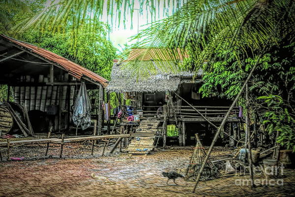 Mud House Photograph - House Cambodian Family Rural  by Chuck Kuhn