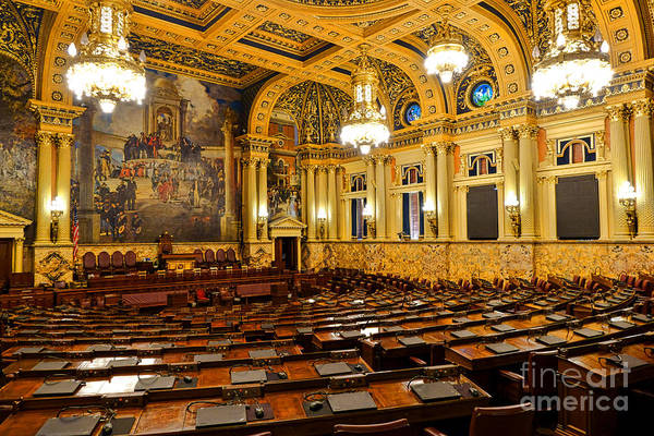 Harrisburg Pa Photograph - House Of Representatives Chamber In Harrisburg Pa by Olivier Le Queinec