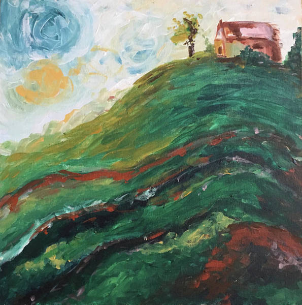 Landscape Painting - House On A Hill by Roxy Rich