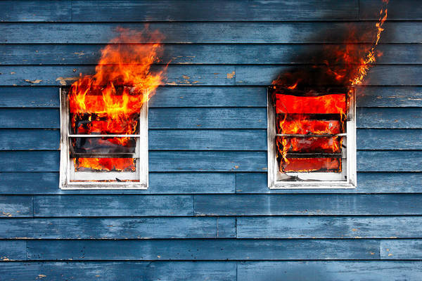Wood Siding Wall Art - Photograph - House On Fire by Todd Klassy