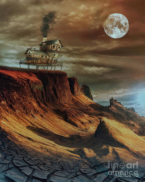 Digital Art - House On The Hill by Jutta Maria Pusl
