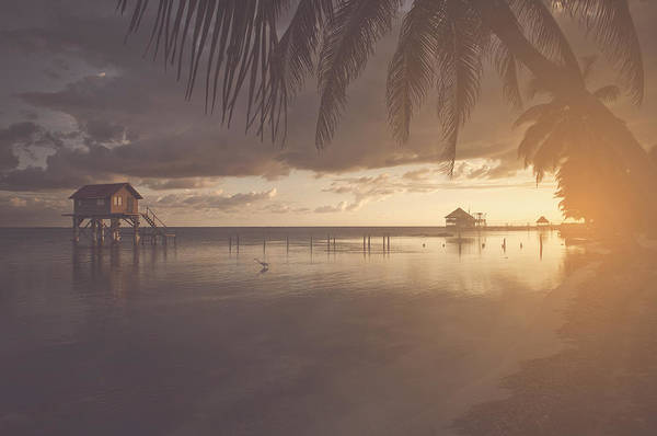 Ambergris Caye Photograph - House On The Ocean In Belize With Vintage Instagram Style Filter by Brandon Bourdages