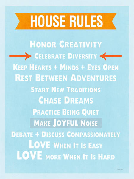 Words Mixed Media - House Rules-contemporary by Linda Woods