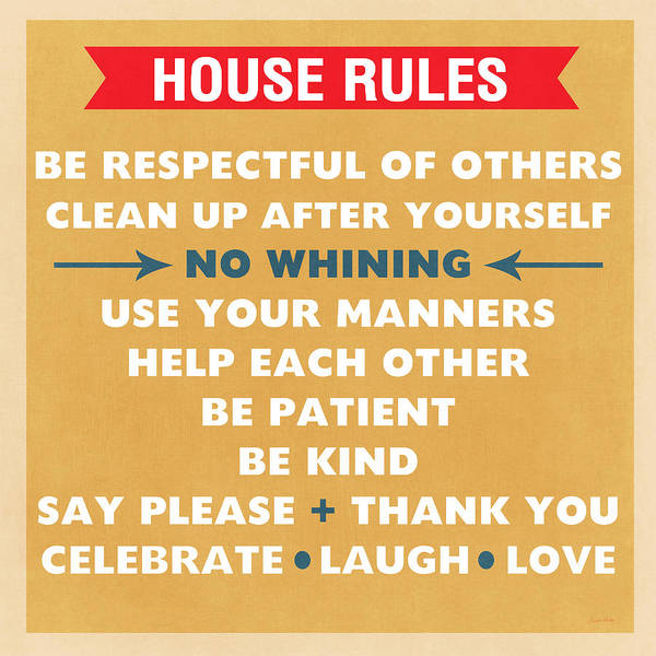 Family Room Mixed Media - House Rules by Linda Woods