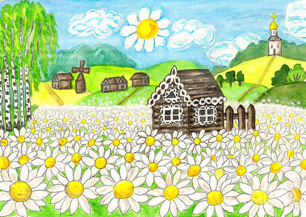 Camomile Painting - House With Camomiles, Painting by Irina Afonskaya