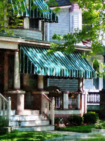 Photograph - House With Green Striped Awnings by Susan Savad