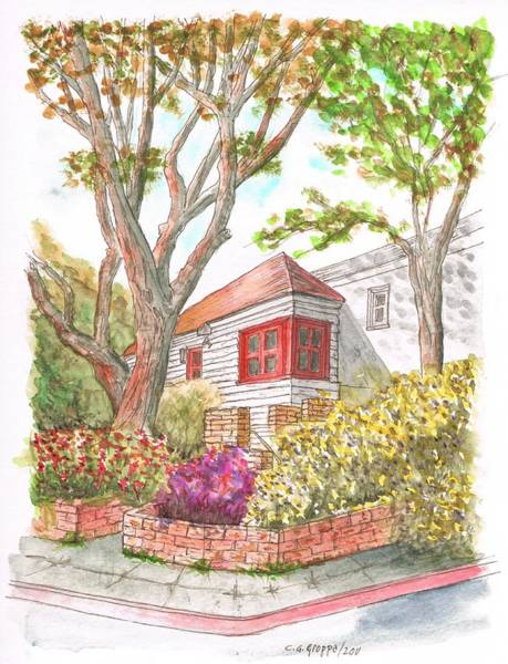 Acuarela Painting - House With Two Trees In Holloway Ave. - West Hollywood - California by Carlos G Groppa