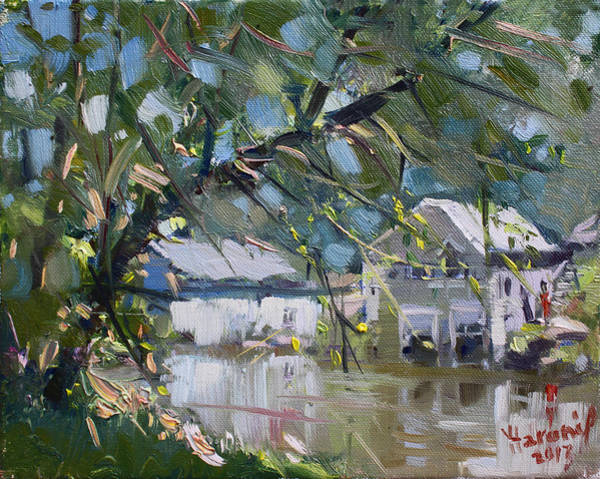 Lake House Painting - Houses Along The Canal by Ylli Haruni