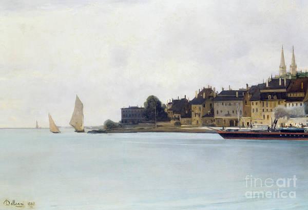 Set Sail Painting - Houses And Sail Boats, Lake Neuchatel, 1883 by Lorenzo Delleani