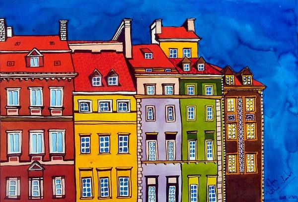 Poland Painting - Houses In The Oldtown Of Warsaw by Dora Hathazi Mendes