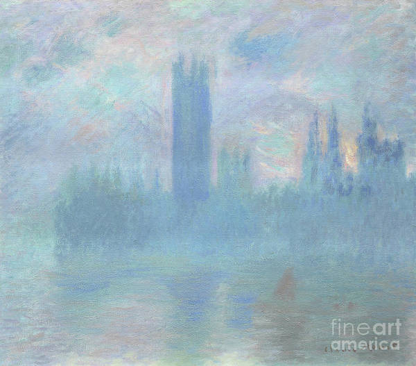 Clock Tower Painting - Houses Of Parliament  London by Claude Monet