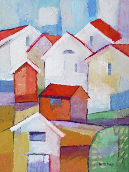 Painting - Houses Painting by Lutz Baar