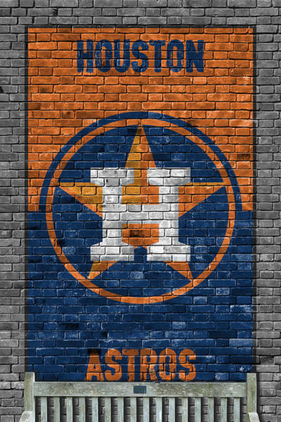 Wall Art - Painting - Houston Astros Brick Wall by Joe Hamilton