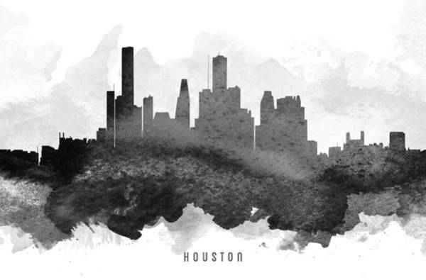Houston Texas Painting - Houston Cityscape 11 by Aged Pixel