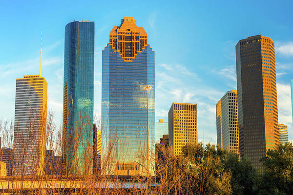 Photograph - Houston Downtown Skyline At Sunset by Gregory Ballos