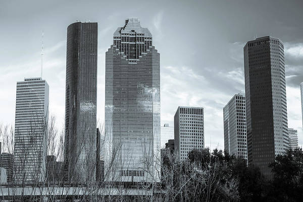 Photograph - Houston Downtown Skyline Black And White by Gregory Ballos