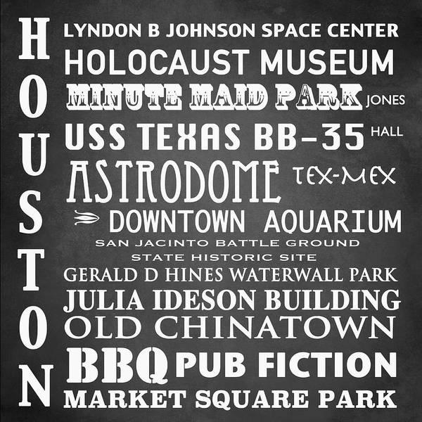 Bbq Digital Art - Houston Famous Landmarks by Patricia Lintner
