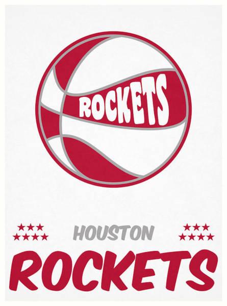 Wall Art - Mixed Media - Houston Rockets Vintage Basketball Art by Joe Hamilton