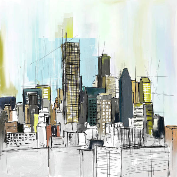Wall Art - Painting - Houston Skyline 652 1 by Mawra Tahreem