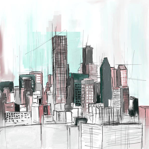 Wall Art - Painting - Houston Skyline 652 2 by Mawra Tahreem