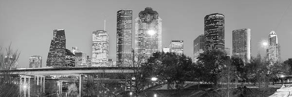 Photograph - Houston Skyline At Dusk In Black And White - Panoramic Cityscape Image by Gregory Ballos