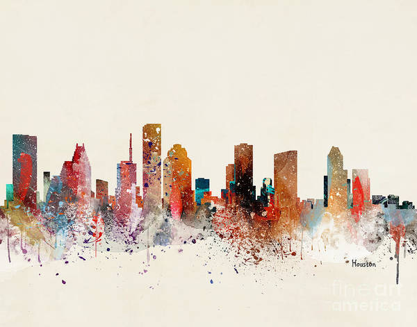 Houston Texas Painting - Houston Skyline by Bri Buckley