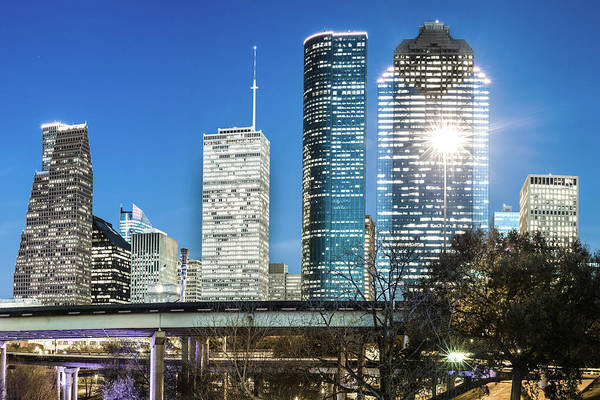 Photograph - Houston Skyline Deep Blue Evening Skies by Gregory Ballos
