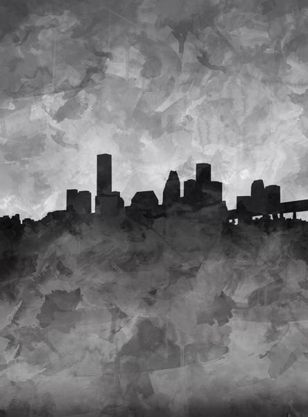 Houston Texas Painting - Houston Skyline Grunge by Bekim Art