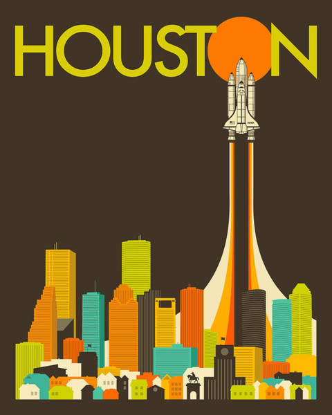 Nasa Wall Art - Digital Art - Houston Skyline by Jazzberry Blue