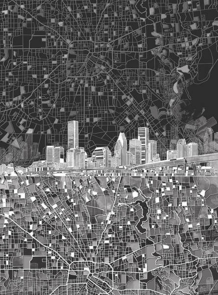 Houston Texas Painting - Houston Skyline Map Black And White by Bekim Art