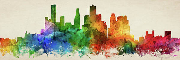 Wall Art - Digital Art - Houston Skyline Panorama Ustxho-pa03 by Aged Pixel