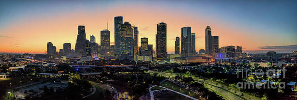 Misson Photograph - Houston Skyline Sunrise Glow Panorama - Color Texas Canvas Print by Bee Creek Photography - Tod and Cynthia