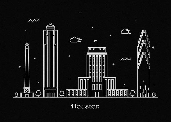 Landmark Center Drawing - Houston Skyline Travel Poster by Inspirowl Design