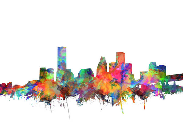Houston Texas Painting - Houston Skyline Watercolor 6 by Bekim Art