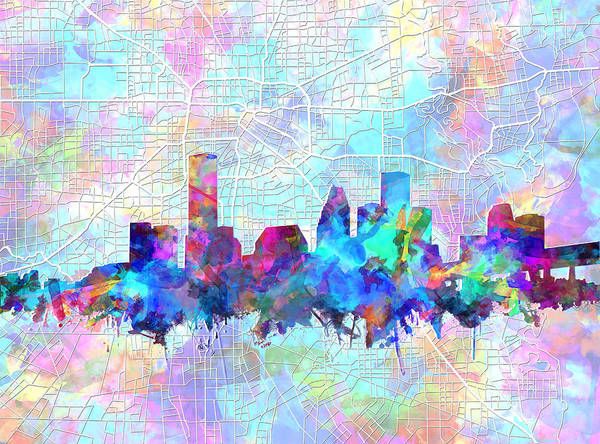 Houston Texas Painting - Houston Skyline Watercolor 7 by Bekim Art
