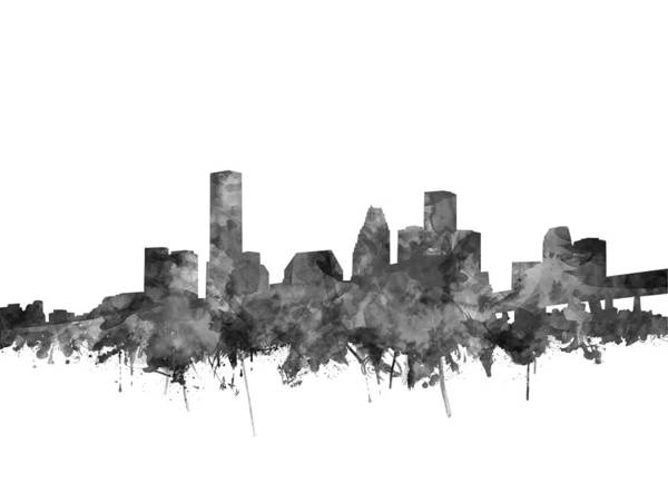 Houston Texas Painting - Houston Skyline Watercolor Black And White by Bekim Art