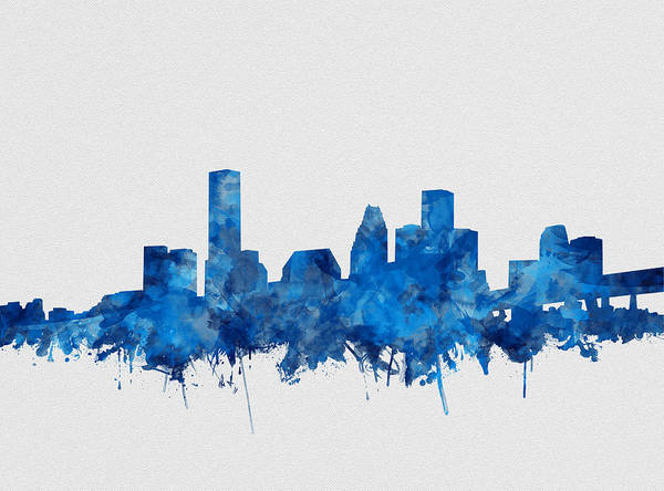 Houston Texas Painting - Houston Skyline Watercolor Blue by Bekim Art