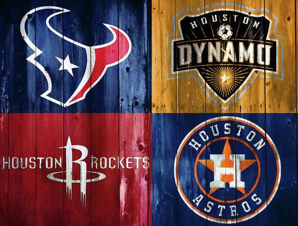 Rustic Mixed Media - Houston Sports Teams Barn Door by Dan Sproul