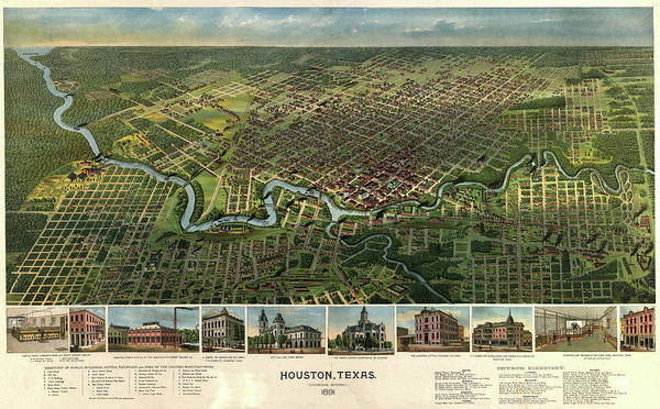 Wall Art - Painting - Houston, Texas 1891 by Antique map