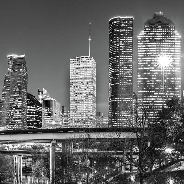 Photograph - Houston Texas Black And White Skyline Cityscape 1x1 by Gregory Ballos