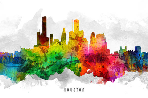 Houston Texas Painting - Houston Texas Cityscape 12 by Aged Pixel