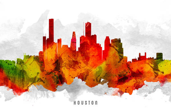 Houston Texas Painting - Houston Texas Cityscape 15 by Aged Pixel