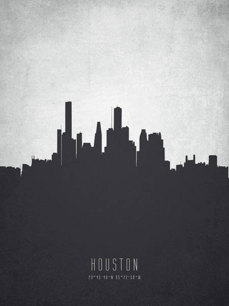 Houston Texas Painting - Houston Texas Cityscape 19 by Aged Pixel