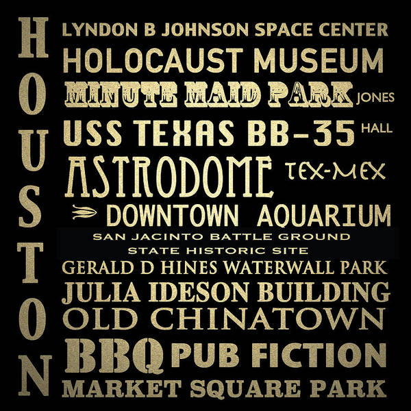 Bbq Digital Art - Houston Texas Famous Landmarks by Patricia Lintner