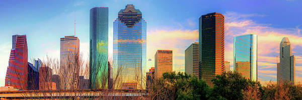 Photograph - Houston Texas Panoramic Skyline At Sunset by Gregory Ballos