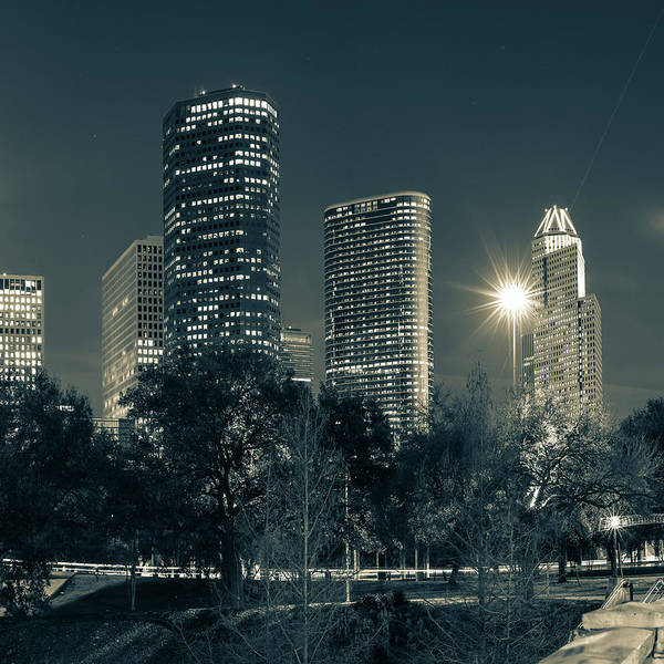 Photograph - Houston Texas Sepia Skyline Cityscape 1x1 by Gregory Ballos