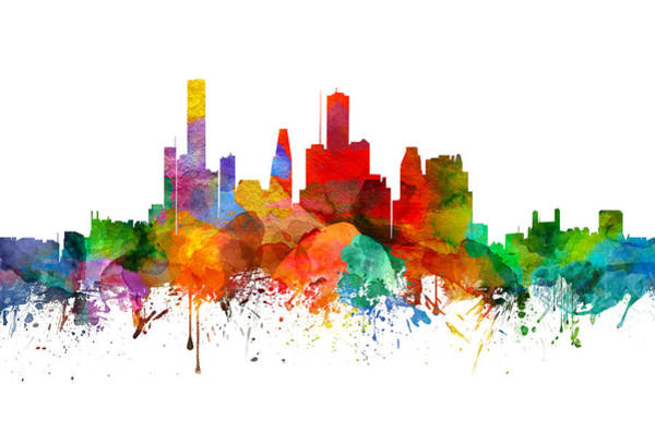 Houston Texas Painting - Houston Texas Skyline 21 by Aged Pixel